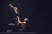 08/10/2014. Ballet Revolución is an explosive fusion of ballet, contemporary dance and hip hop from a company of supremely talented Cuban dancers and live musicians. Performing at The Peacock Theatre, London. Picture features  Jenny Sosa Martinez & Ledia Soto Rodriguez.