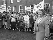 Irish Nurses Organisation Protest..28.05.1986..05.28.1986..28th May 1986..In protest against proposed health cuts the Irish Nurses Organisation organised a protest march to Dail Eireann. Nurses from all over Ireland were represented at the march...Photograph of INO leader Ms Bridget Butler leading the nurses on the march to Dail Eireann.