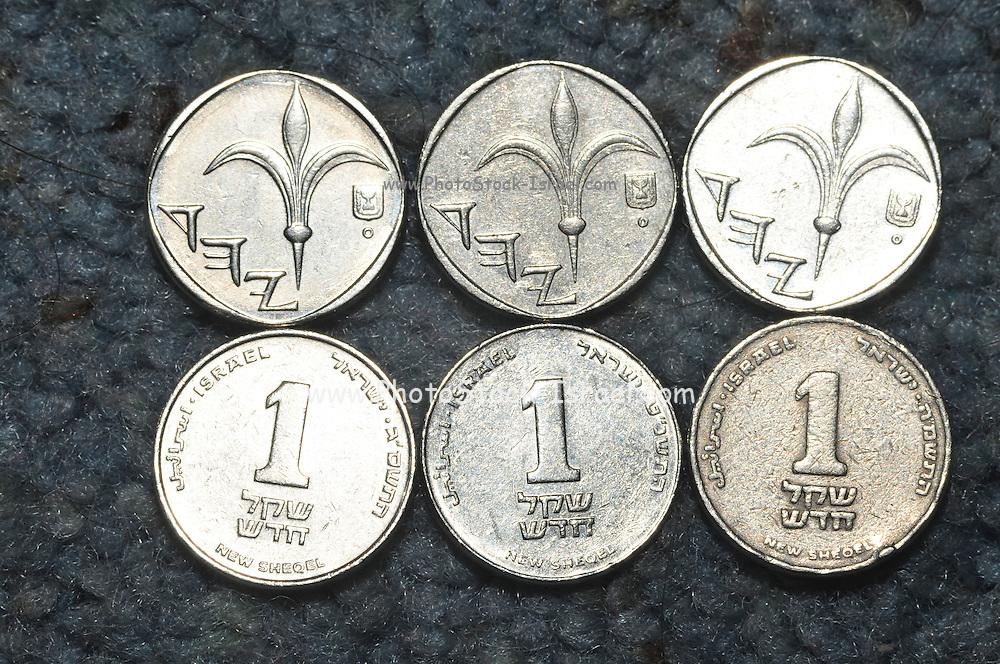 New Israeli Shekel coins 6 one shekel coins