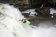 Alex Terry, Vermont Paddlers Club kayak racing at Bartlett Falls on the New Haven River in Lincoln, Vermont.