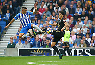 Anthony Knockaert of Brighton challenges Mikel Merino of Newcastle during the Premier League match between Brighton and Hove Albion and Newcastle United at the American Express Community Stadium in Brighton and Hove. 24 Sep 2017