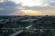 Uzbekistan, Tashkent. Sunset seen from Hotel Uzbekistan.