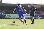 AFC Wimbledon defender Sean Kelly (22) prepares to shoot during the EFL Sky Bet League 1 match between AFC Wimbledon and Millwall at the Cherry Red Records Stadium, Kingston, England on 2 January 2017. Photo by Stuart Butcher.
