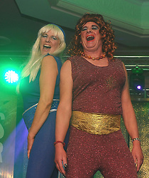 Cathy Waddell and John Henry as Abba&rsquo;s Agnetha  and Anni-Frid at Westport United&rsquo;s &lsquo;Stars in their Eyes&rsquo; on friday night last.<br /> Pic Conor McKeown