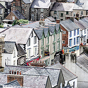 Roofs made of Welsh slate in the town of Conwy, as seen from one of the turrets of nearby Conwy Castle on the northern coast of Wales, United Kingdom.