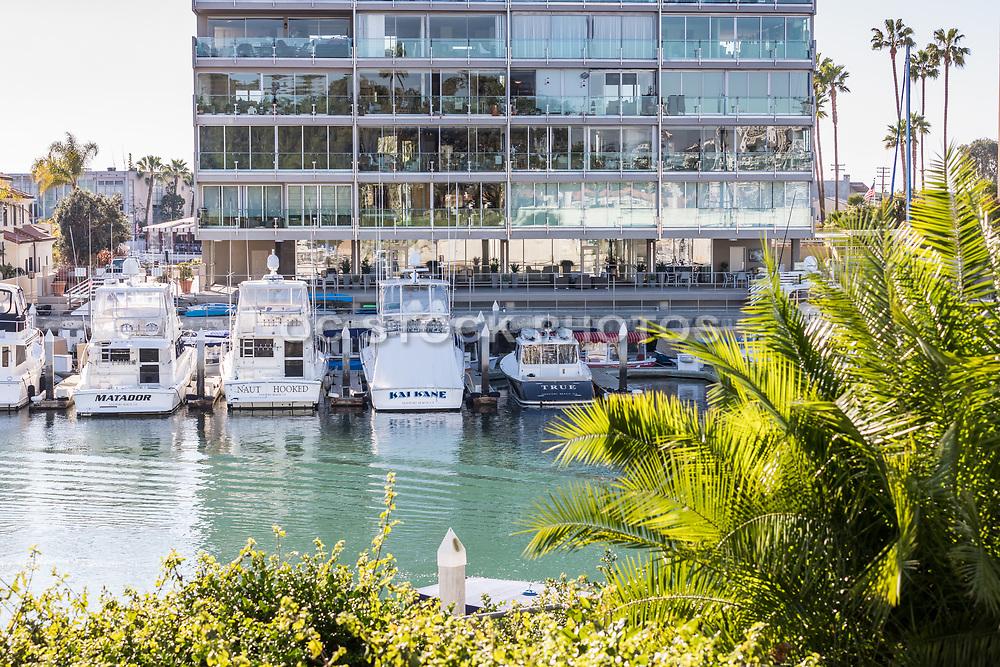Boats Docked in Front of Vista Del Lido Condominium Complex in Newport Beach
