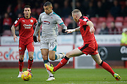 Grimsby Town's Kayden Jackson in the attacking end during the EFL Sky Bet League 2 match between Crawley Town and Grimsby Town FC at the Checkatrade.com Stadium, Crawley, England on 26 November 2016. Photo by Jarrod Moore.