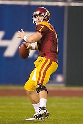 Dec 26, 2009; San Francisco, CA, USA;  Southern California Trojans quarterback Matt Barkley (7) during the first quarter against the Boston College Eagles in the 2009 Emerald Bowl at AT&T Park.  USC defeated BC 24-13.
