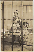 Actors in tiger and lion tamer costumes, 1920s, Shochiku Studios, silver gelatin bromide published by Oriental Photo Paper.<br />