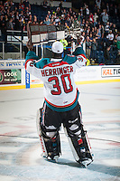 KELOWNA, CANADA - MAY 13: Michael Herringer #30 of Kelowna Rockets skates with the WHL Championship trophy on May 13, 2015 during game 4 of the WHL final series at Prospera Place in Kelowna, British Columbia, Canada.  (Photo by Marissa Baecker/Shoot the Breeze)  *** Local Caption *** Michael Herringer;