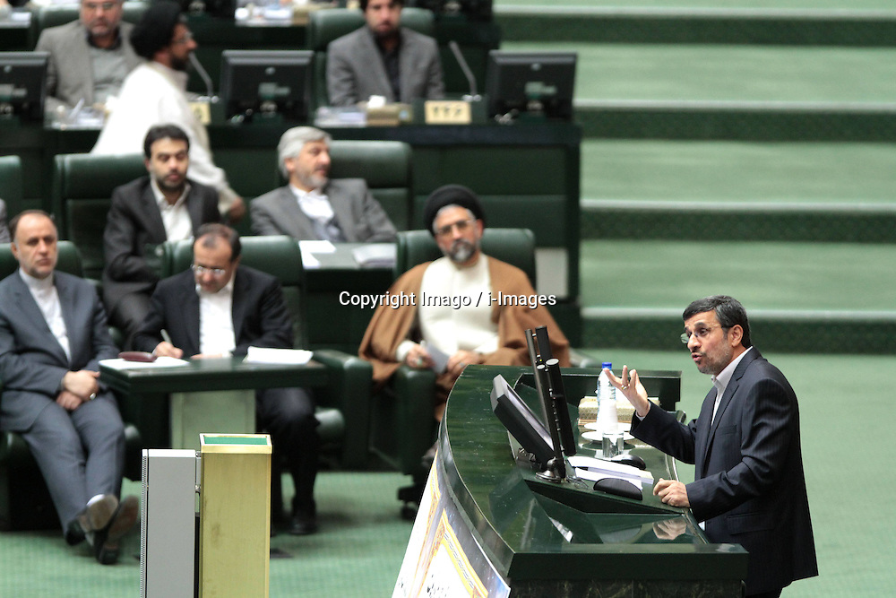 Iranian President Mahmoud Ahmadinejad (R) delivers a speech at the Majlis (Parliament) in Tehran, Iran, on Jan. 16, 2013. Ahmadinejad said here on Wednesday that the country s reliance on oil revenues is a week point in Iran s economy and it should be lessened, and the enemy has used this drawback in Iran s economy to pressure the country by imposing sanctions,  January 16, 2013. Photo by Imago / i-Images...UK ONLY