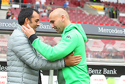 26.09.2015, Mercedes Benz Arena, Stuttgart, GER, 1. FBL, VfB Stuttgart vs Borussia Moenchengladbach, 7. Runde, im Bild Vorstand Sport Robin Dutt ( VfB Stuttgart ) rechts # Trainer Andre Schubert ( Borussia Moenchengladbach ) begruessen sich // during the German Bundesliga 7th round match between VfB Stuttgart and Borussia Moenchengladbach at the Mercedes Benz Arena in Stuttgart, Germany on 2015/09/26. EXPA Pictures © 2015, PhotoCredit: EXPA/ Eibner-Pressefoto/ Langer<br /> <br /> *****ATTENTION - OUT of GER*****