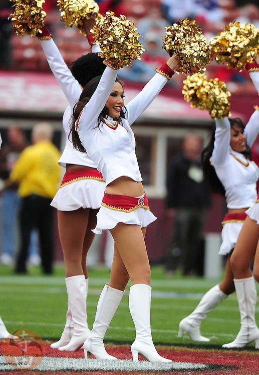 October 11, 2009; San Francisco, CA, USA; San Francisco 49ers Gold Rush cheerleader Carmen Rangell performs before the game against the Atlanta Falcons at Candlestick Park. The Falcons defeated the 49ers 45-10. Mandatory Credit: Kyle Terada-Terada Photo
