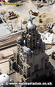 aerial photograph of the Liver Birds l Liverpool Merseyside England  UK