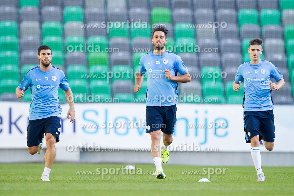 Bojan Jokic, Luka Krajnc and Struna Andraz during practice session of Slovenian National Football Team before Euro 2016 Qualifications match against Switzerland, on September 1, 2015 in SRC Stozice, Ljubljana, Slovenia. Photo by Urban Urbanc / Sportida