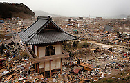 Tsunami and earthquake damage is seen in a residential area in the town of Rikuzen Takada, Japan, after the earthquake and tsunami struck the town on 11 March 2011.