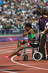 Genzebe Dibaba of Ethiopia collapsed after the 1500m at the London 2012 Olympics, Monday, 6th August, 2012  Photo by:  i-Images