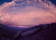 Twilight, Sierra Nevada Mountains from Sequoia National Park, Rose colored clouds, snow covered mountains