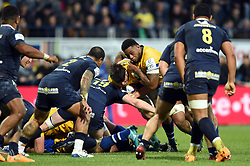 Josh Bayliss of Bath Rugby takes on the Clermont Auvergne defence - Mandatory byline: Patrick Khachfe/JMP - 07966 386802 - 15/12/2019 - RUGBY UNION - Stade Marcel-Michelin - Clermont-Ferrand, France - Clermont Auvergne v Bath Rugby - Heineken Champions Cup