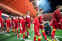 SWANSEA, WALES - Tuesday, March 26, 2013: Wales' Andy King walks out to face Croatia during the 2014 FIFA World Cup Brazil Qualifying Group A match at the Liberty Stadium. (Pic by David Rawcliffe/Propaganda)