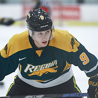 1st year forward, Conner Chaulk (9) of the Regina Cougars during the Men's Hockey Home Game on Fri Oct 12 at Co-operators Center. Credit: Arthur Ward/Arthur Images
