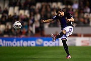 VALENCIA, SPAIN - APRIL 07: Mikel Balenziaga of Real Valladolid in action during the Liga BBVA between Valencia CF and Real Valladolid at the Mestalla stadium on April 07, 2013 in Valencia, Spain. (Photo by Aitor Alcalde Colomer).