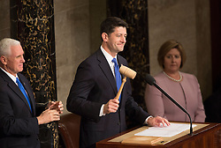Speaker of The House of Representatives Paul Ryan (Republican of Wisconsin) gavels the start of a joint meeting of Congress for an address by U.S. President Donald J. Trump on Capitol Hill in Washington, DC, USA, February 28, 2017. Photo by Chris Kleponis/CNP/ABACAPRESS.COM