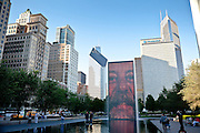 The Crown Fountain by Spanish artist Jaume Plensa in Millennium Park in Chicago, IL, USA.