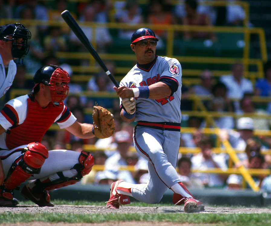 CHICAGO - 1986:  Baseball Hall of Famer Reggie Jackson bats during a game between the Los Angels Angels and Chicago White Sox at Comiskey Park in Chicago, Illinois.  Jackson played for the Angels from 1982-1986.  (Photo by Ron Vesely)