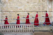 UNITED KINGDOM, Winchester: 05 March 2019 Winchester Pancake Race Photo Feature:<br /> Members belonging to the Winchester Cathedral Choir take a walk after competing in the Inaugural Winchester Pancake Race earlier this afternoon on Shrove Tuesday. The race, which consisted of 20 teams, took place in the gardens surrounding Winchester Cathedral. <br /> Rick Findler / Story Picture Agency