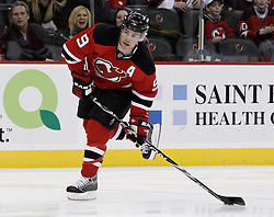 Jan 29, 2010; Newark, NJ, USA; New Jersey Devils left wing Zach Parise (9) takes a shot on goal during the second period of their game against the Toronto Maple Leafs at the Prudential Center.