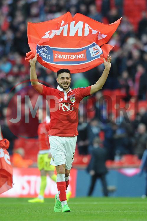 Bristol City's Derrick Williams celebrates winning the Johnstone Paint Trophy - Photo mandatory by-line: Dougie Allward/JMP - Mobile: 07966 386802 - 22/03/2015 - SPORT - Football - London - Wembley Stadium - Bristol City v Walsall - Johnstone Paint Trophy Final