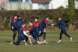 England U20 players warm up during a session at Bristol Rugby's training facility ahead of the U20 Six Nations match versus Wales - Mandatory byline: Rogan Thomson/JMP - 08/03/2016 - RUGBY UNION - Clifton Rugby Club - Bristol, England - England Under 20s Training at Bristol Rugby.