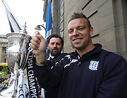 Dundee manager Paul Hartley and Gavin Rae she the trophy to the fans - Dundee FC civic reception at Dundee City Chambers<br /> <br />  - &copy; David Young - www.davidyoungphoto.co.uk - email: davidyoungphoto@gmail.com