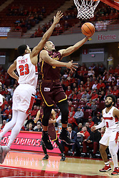 10 January 2018:  Marques Townes gets inside William Tinsley during a College mens basketball game between the Loyola Chicago Ramblers and Illinois State Redbirds in Redbird Arena, Normal IL