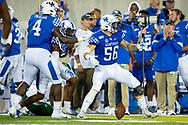Kentucky Wildcats linebacker Kash Daniel (56) intercepts a pass during the first half at Kroger Field in Lexington, Ky., Saturday, Sept. 7, 2019.