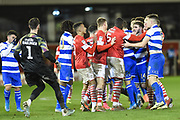 An argument between both teams takes place in the final moments of the game during the EFL Sky Bet Championship match between Barnsley and Queens Park Rangers at Oakwell, Barnsley, England on 14 December 2019.
