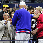 Novak Djokovic, Serbia, celebrates with his team and coach Boris Becker after winning the Men's Singles Final against Roger Federer, Switzerland, during the US Open Tennis Tournament, Flushing, New York, USA. 13th September 2015. Photo Tim Clayton