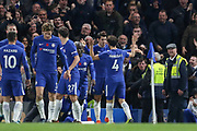 Chelsea's Álvaro Morata celebrates his goal with Chelsea's Cesc Fabregas during the Premier League match between Chelsea and Manchester United at Stamford Bridge, London, England on 5 November 2017. Photo by Phil Duncan.