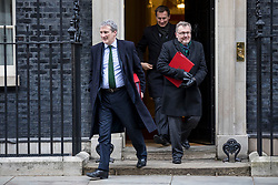 © Licensed to London News Pictures. 29/01/2019. London, UK. Education Secretary Damian Hinds (L), Foreign Secretary Jeremy Hunt (centre), and Scotland Secretary David Mundell (R) leave 10 Downing Street after the Cabinet meeting, as Brexit negotiations continue. MPs will vote on a series of amendments this evening. Photo credit: Rob Pinney/LNP