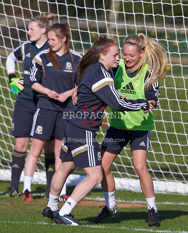CHESTER, ENGLAND - Sunday, April 5, 2015: Wales' xxxx and Charlie Estcourt during a training session at the Carden Park Hotel ahead of a friendly match against Slovakia. (Pic by David Rawcliffe/Propaganda)