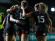 Players celebrate Hannah Botterman's try, England Women v Canada in an Autumn International match at The Stoop, Twickenham, London, England, on 21st November 2017 Final score 49-12