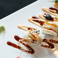 The Bosphorus roll is photographed on Tuesday, March 1, 2011 at The Venue Sushi Bar & Sake Lounge in Palm Desert, Calif. The roll features shrimp tempura, crab meat and avocado topped with escolar. Crystal Chatham, The Desert Sun