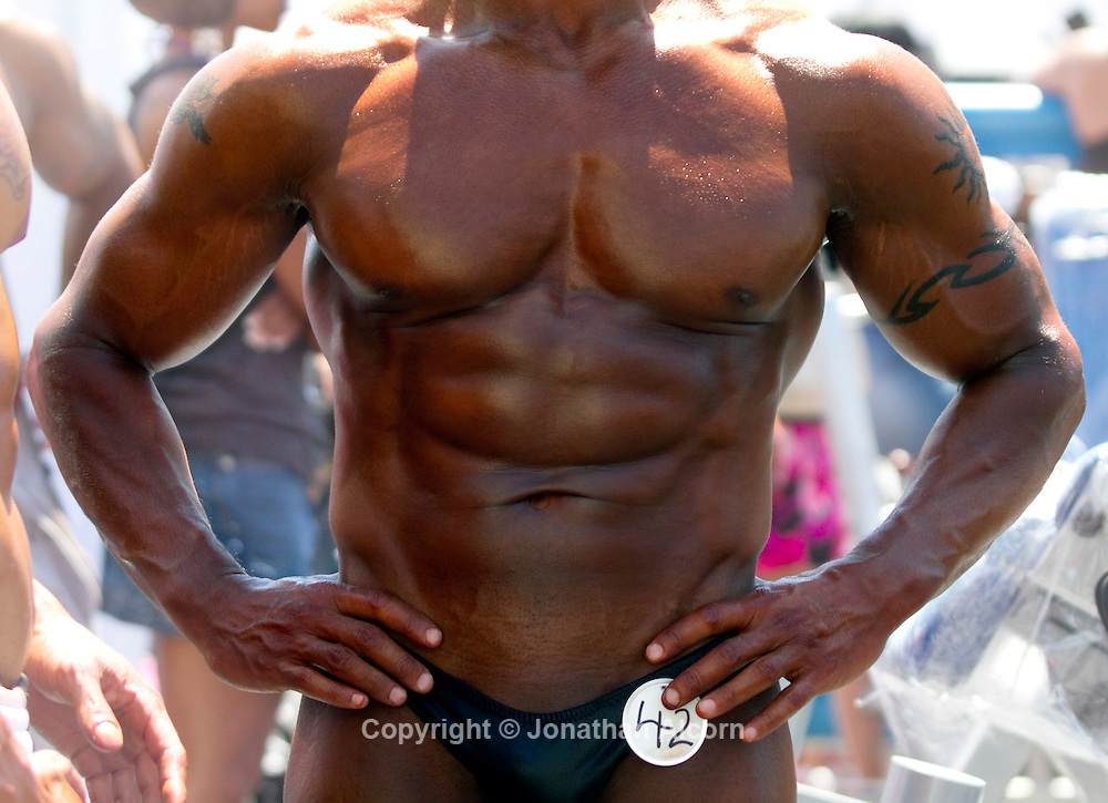 Body Builder contestants at The Muscle Beach Memorial Day International Classic on Memorial Day 2011 in Venice Beach.