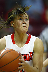 30 December 2010: Katie Broadway eyes the hoop during an NCAA Womens basketball game between the Bradley Braves and the Illinois State Redbirds at Redbird Arena in Normal Illinois.