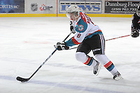 KELOWNA, CANADA - FEBRUARY 18: Colten Martin #8 of the Kelowna Rockets skates with the puck against the  Red Deer Rebels at the Kelowna Rockets on February 18, 2012 at Prospera Place in Kelowna, British Columbia, Canada (Photo by Marissa Baecker/Shoot the Breeze) *** Local Caption ***