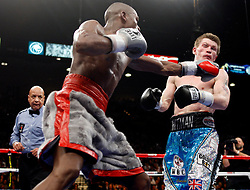 K.M. CANNON/REVIEW-JOURNALFloyd Mayweather of Las Vegas lands a left to Ricky Hatton of Britain in the ninth round of their WBC World Welterweight Championship bout at the MGM Grand Garden Arena Saturday, Dec. 8, 2007. Mayweather won by knockout in the 10th round...