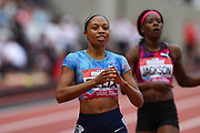 Allyson Felix of the United States of America after winning the Women's 400m  during the Muller Anniversary Games at the London Stadium, London, England on 9 July 2017. Photo by Martin Cole.