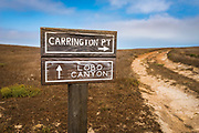 Trail sign to Lobo Canyon and Carrington Point, Santa Rosa Island, Channel Islands National Park, California USA