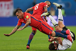 July 2, 2017 - Saint Petersburg, Russia - Eduardo Vargas (L) , Arturo Vidal of the Chile national football team and Jonas Hector of the Germanyl national football team vie for the ball during the 2017 FIFA Confederations Cup final match between Chile and Germany at Saint Petersburg Stadium on July 02, 2017 in St. Petersburg, Russia. (Credit Image: © Igor Russak/NurPhoto via ZUMA Press)